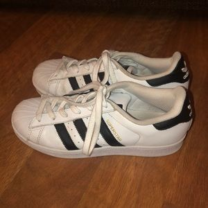 Adidas Superstar White and Black Shoes